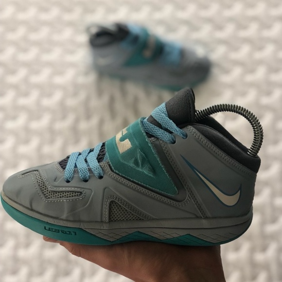 new product 48f15 eb7b4 Nike Lebron James Soldier Blue Grey Shoes.